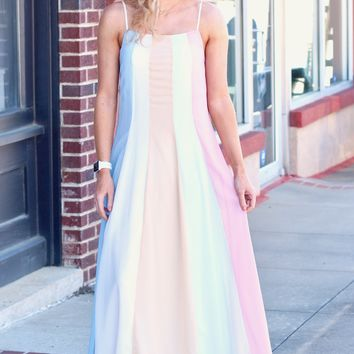 Pastel Goddess Draped Maxi Dress {Multi-Color}