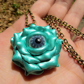 Turquoise Teal Eyeball Rose Flower Pendant Necklace Handmade Polymer Clay Jewelry