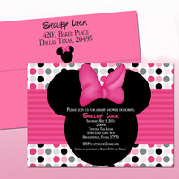 Minnie Mouse Pink and Grey Polka Dots Shower Invitations-  Disney- Deposit Listing