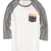 Aeropostale  3/4 Sleeve Sunset Pocket Raglan Tee