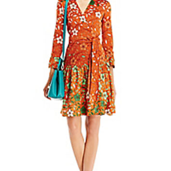 DVF Sylvia Silk Combo Wrap Dress