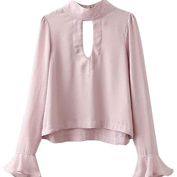 Pink High Neck Cut Out Flared Sleeve Blouse