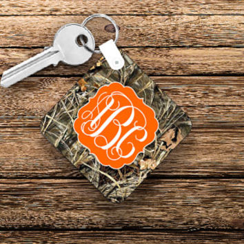 Monogram Keychain, Personalized Keychain, Custom Keychain, Camo Accessories, Camo Girl, Valentines Day Gift for Her, New Driver Keychain