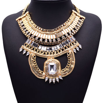 XG246 New Hot Sale 2015 Bohemia Metal Style Necklaces & Pendants Exaggerated Big Crystal Statement Necklace Multi-layers Jewelry