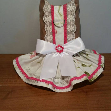 Dog dress - chihuahua dress - pet clothing - handmade - size small dog clothing - custom made dog clothes - cute bow dog dress