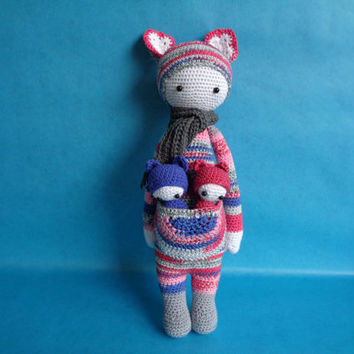Kira the kangaroo with twins, Lalylala inspired crochet doll.