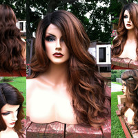 U.S.A. // BABY HAIR Auburn Brown Ombre Heat Safe LACE Front & Part Wig w/ Black Dark Roots