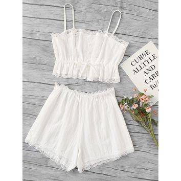 Scallop Lace Trim Cami Pajama Set WHITE