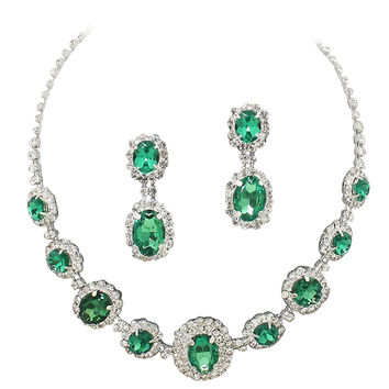 Bright Merelani Mint Green Regal Statement Bridal Bridesmaid Necklace Earring Set Silver Tone