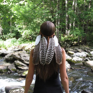 Mighty Eagle, feather, headband, boho, gypsy, coachella, tribal, belly, dance, music, festival, headress,  acesessories, wedding, bohemian