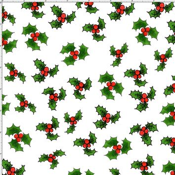 Holly Toss White Fabric
