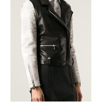 Men's Lamb Nappa Leather Jacket with French Terry Sleeves