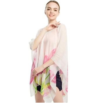 Cover ups Bikini summer shading shawl beach  sarong cape polyester shawsl pareo shawl wraps shawls female kaftan button 90x145CM KO_13_1