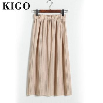 KIGO 2018 Women Chiffon Pleated Skirt Vintage High Waist Skirts Womens Saia Midi Summer Casual Skirt Jupe Femme KC1166H