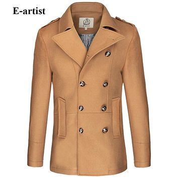 Men's Slim Fit Double Breasted Wool Trench Coat Male Warm Winter Jackets Pea coats Outerwear Overcoats