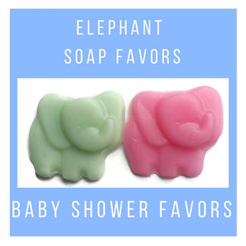 Elephant Baby Shower Soap Party Favors -  Baby Shower Favors for Gender Reveal Party, Custom Color & Scent - Pack of 25