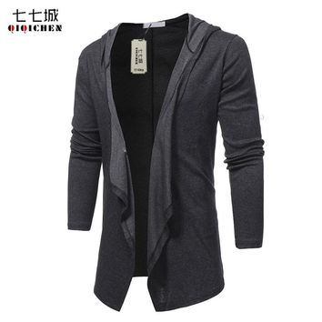 V Neck Shawl Collar Long Hoodie Cardigan Jacket Men Hooded Cloak Black Casual Male Gothic Coat