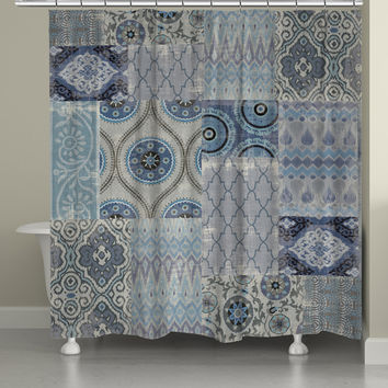 Persian Patchwork Blue Shower Curtain