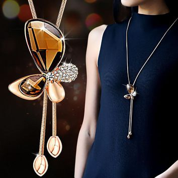Fine Trendy Statement Crystal Butterfly Tassel Long Necklace Women 2016 New Gold Plated Jewelry Bijoux Necklaces & Pendants