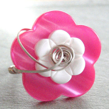 Pink and White Flower Button Sterling Silver Wire Wrapped Ring