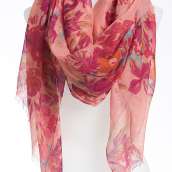 David & Young Sheer Floral Scarf (Juniors) (Online Only) | Nordstrom
