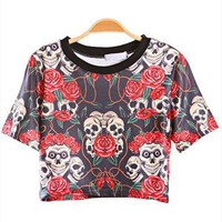 Skull and Roses Short T-shirt Red from topsales