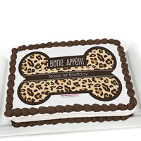 Leopard - Personalized Dog Party Cake Topper