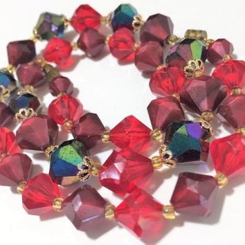 Red Aurora Borealis Bead Necklace Lightweight Faceted Bicone Plastic Beads Mid Century Jewelry Lightweight Summer Style  518m