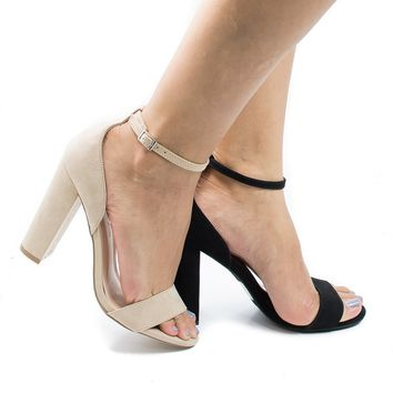 Morris02 Wild Diva, Open Toe Ankle Cuff Chunky Heeled Sandals