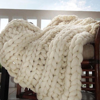 Chunky Knit Blanket, Choose Size, Pure Merino Throw Blanket, Giant Knit Blanket, Huge Stitch Size