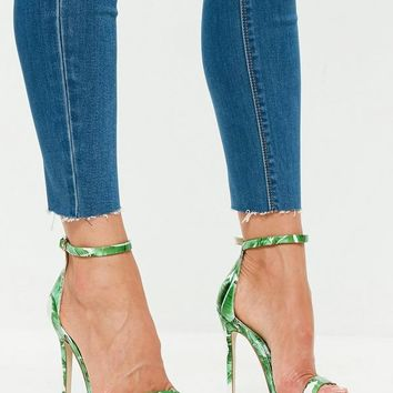 Missguided - Green Palm Print Two Strap Barely There Heels