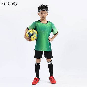 Youth football uniform kids soccer kits boys top quality soccer jerseys child custom soccer set kits 2018 new arrival