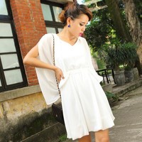 Bqueen Sexy Halter Hollow Chiffon White Dress FQ204B - Designer Shoes|Bqueenshoes.com