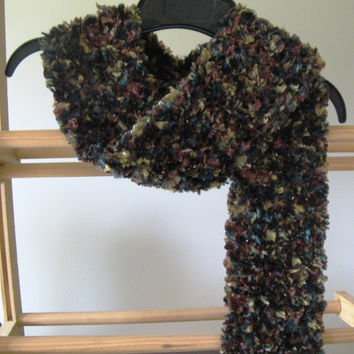 Crochet Fashion Scarf - Forest - Fuzzy