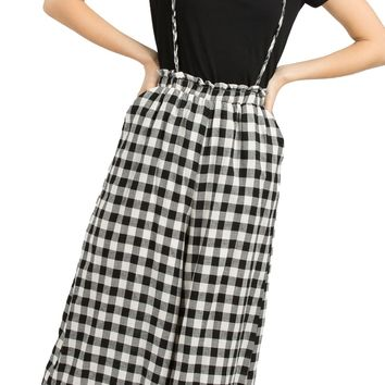 Plaid Overall Pants - Black Cream by POL Clothing