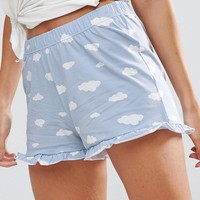 Vero Moda Cloud Print Bed Shorts at asos.com