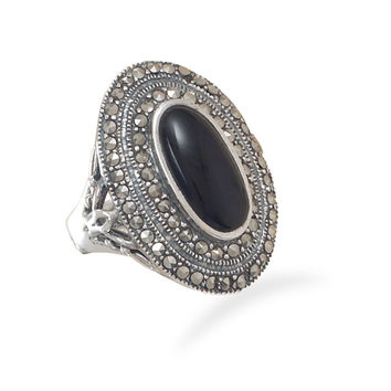 Oxidized Marcasite and Black Onyx Ring