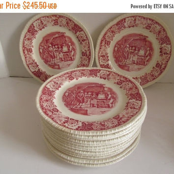 SALE 14 Red Transferware Historical America Homer Laughlin China The Liberty Bell Red and White Plates Red and White Decor Art Deco Decor