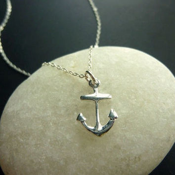anchor necklace in sterling silver-anchor charm necklace-silver anchor necklace