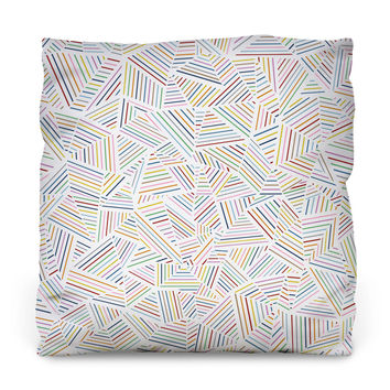 Ab Linear Rainbow Outdoor Throw Pillow