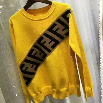 Fendi F Striped Color Letter Round Neck Collar Knitted Sweater-12