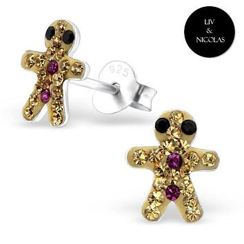 Solid 925 Sterling Silver Colorful Crystal Gingerbread Earrings