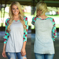 Women's Mint Floral Sleeve with Heather Grey Body Colorblock T-shirt Top Plus Sizing Available