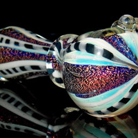 Winners Circle Sparkle - Heady Color Changing Silver Fumed Glass Pipe w/ 4 Purple Rainbow Dichroic Glitter Stripes & Checkered Flag Latti