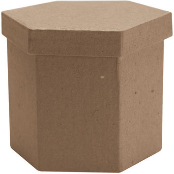 "paper mache tall hexagon box - 3"" x 3"" x 3"""