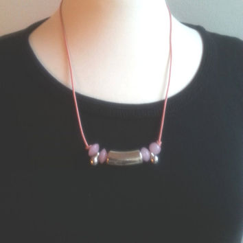 Pink leather necklace, pink necklace, silver and pink beads, womens necklaces, womans neckless, danish design, euro chic, gift idea for her