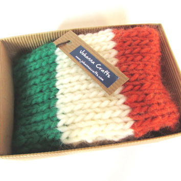 White fleece lined knit headband with Irish flag colors (green white orange) at the front - hand knit in Ireland for st patrick's day