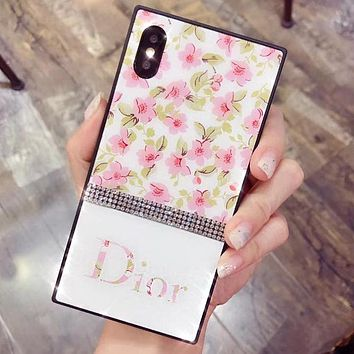 GUCCI DIOR LV SUPREME HERMES Flower Series Popular Glass Shining Diamond iPhone Cover Case For iPhone X 8 8 Plus 7 7 Plus 6 6 Plus I13084-1