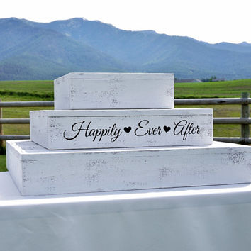 "Rustic Wedding Cake or Cupcake Stand -  Three Tiers 12""x12"", 18""x18"" and 24""x24"" Shabby Chic"