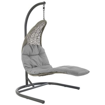 Landscape Hanging Chaise Lounge Outdoor Patio Swing Chair Light Gray Gray EEI-2